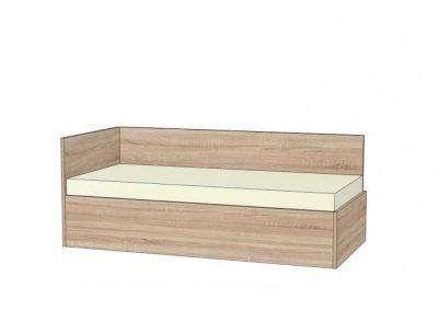 postel s rovným čelom a chrbátom bez úložného priestoru