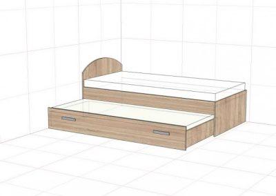 postel s oblým čelom s výsuvnou zasuvkou na kolieskach