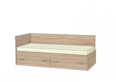 postel s rovným celom a chrbátom s 2 zasuvkami na koliečkach