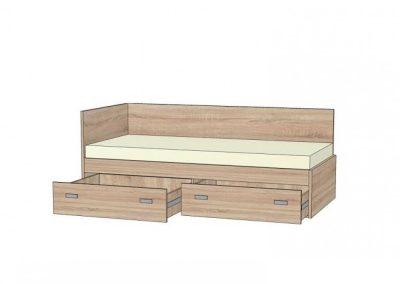 postel s rovným čelom a chrbátom s 2 zásuvkami na plnovýsuvoch