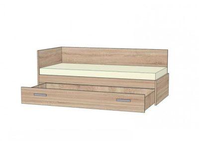 postel s rovným celom a chrbátom s výsuvnou zasuvkou na kolieskach