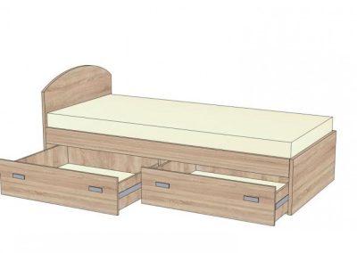 postel s oblým čelom s 2 zásuvkami na plnovýsuvoch
