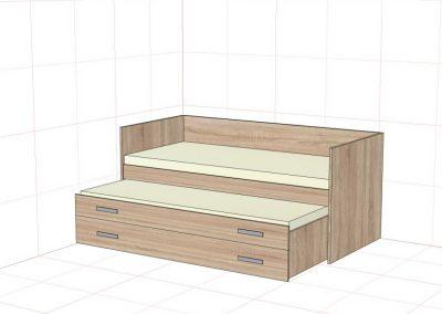posteť s úložným priestorom a výsuvným lôžkom